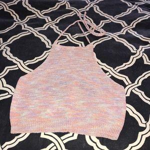 NWOT Knit Halter Crop Top - Multicolored